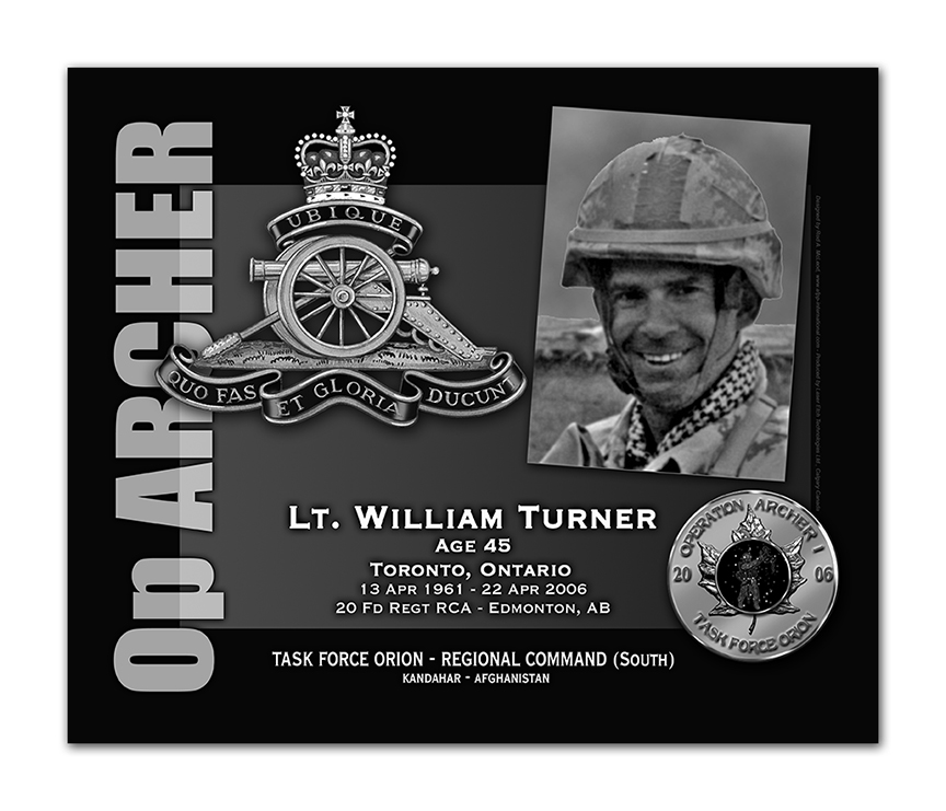 Plaque– This was the laser engraved granite plaque that we designed to mark the unfortunate passing of Lt. Turner.  It was originally displayed at the Kandahar Cenotaph from the date of his passing - and was repatriated to Canada in 2014.  Today, it can be seen at the Afghanistan War Memorial located at National Defence Headquarters in Kanata, On.  
