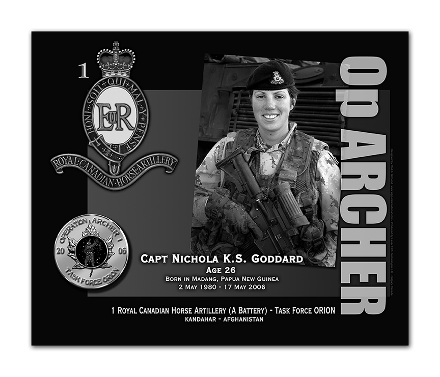 Plaque– This was the laser engraved granite plaque that we designed to mark the unfortunate passing of Captain Goddard.  It was originally displayed at the Kandahar Cenotaph from the date of his passing - and was repatriated to Canada in 2014.  