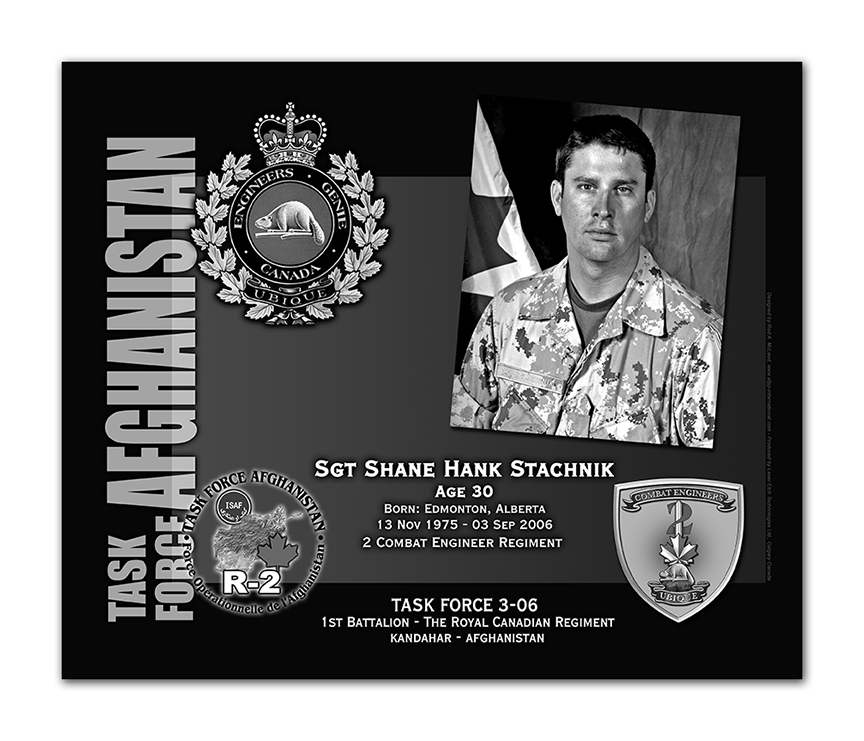 Plaque– This was the laser engraved granite plaque that we designed to mark the unfortunate passing of Sgt. Stachnik.  It was originally displayed at the Kandahar Cenotaph from the date of his passing - and was repatriated to Canada in 2014.    Today, it can be seen at the Afghanistan War Memorial located at National Defence Headquarters in Kanata, On.    Rod McLeod, Artist