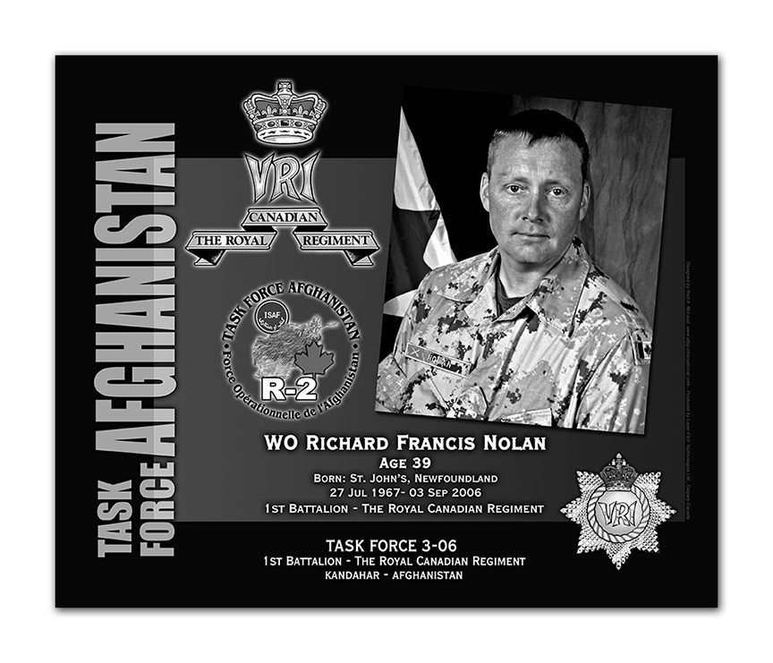 Plaque– This was the laser engraved granite plaque that we designed to mark the unfortunate passing of WO Nolan.    It was originally displayed at the Kandahar Cenotaph from the date of his passing - and was repatriated to Canada in 2014.    Today, it can be seen at the Afghanistan War Memorial located at National Defence Headquarters in Kanata, On.    Rod McLeod, Artist