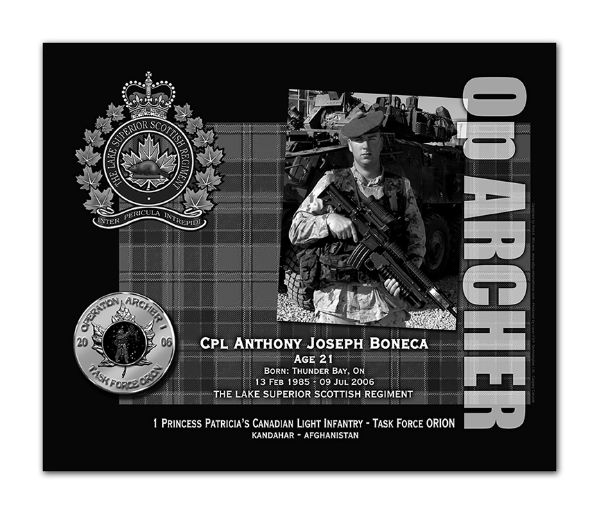 Plaque– This was the laser engraved granite plaque that we designed to mark the unfortunate passing of Cpl. Boneca.  It was originally displayed at the Kandahar Cenotaph from the date of his passing - and was repatriated to Canada in 2014.  Today, it can be seen at the Afghanistan War Memorial located at National Defence Headquarters in Kanata, On.    Rod McLeod, Artist