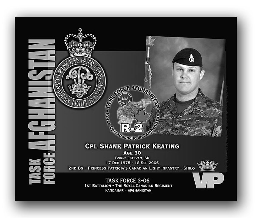 Plaque– This was the laser engraved granite plaque that we designed to mark the unfortunate passing of Cpl. Keating.  It was originally displayed at the Kandahar Cenotaph from the date of his passing - and was repatriated to Canada in 2014.  