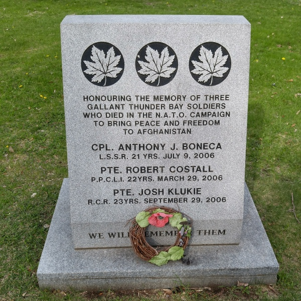 Memorial– Memorial - Waverley Park, Thunder Bay, ON - May 2018 … photo courtesy of Marg Liessens