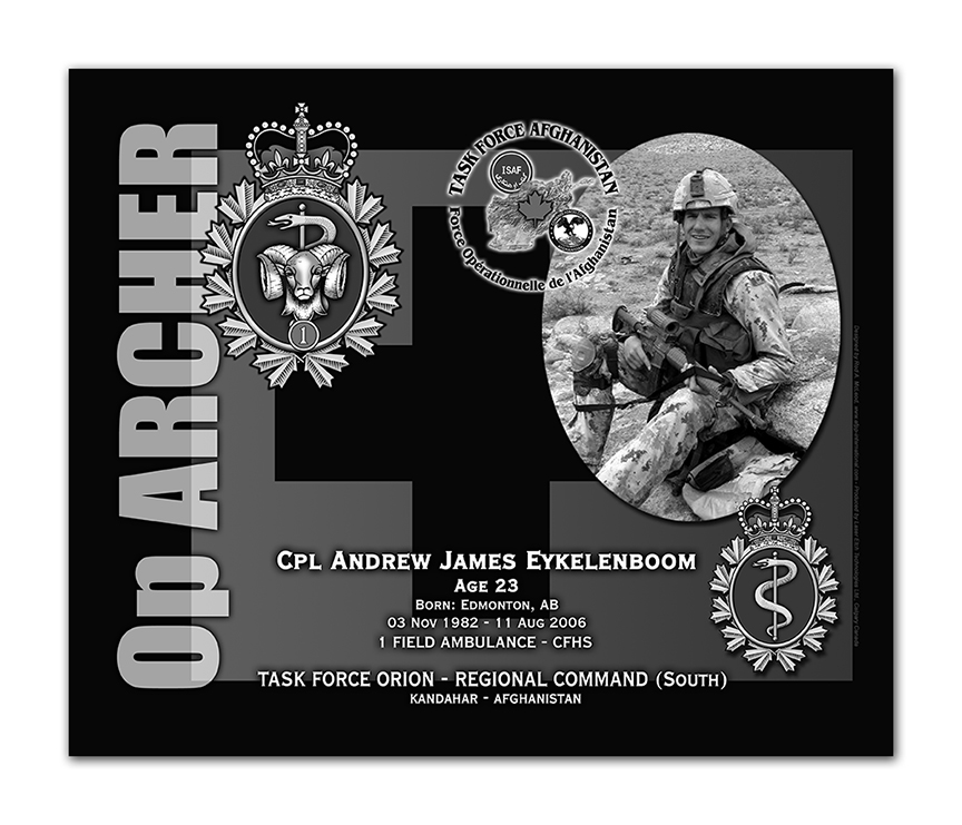 Plaque– This was the laser engraved granite plaque that we designed to mark the unfortunate passing of Cpl Eyklenboom.  It was originally displayed at the Kandahar Cenotaph from the date of his passing - and was repatriated to Canada in 2014.    Today, it can be seen at the Afghanistan War Memorial located at National Defence Headquarters in Kanata, On.    Rod McLeod, Artist