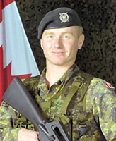 Photo of Kevin Megeney– Corporal Kevin Megeney, a reserve member of the 1st Battalion Nova Scotia Highlanders.