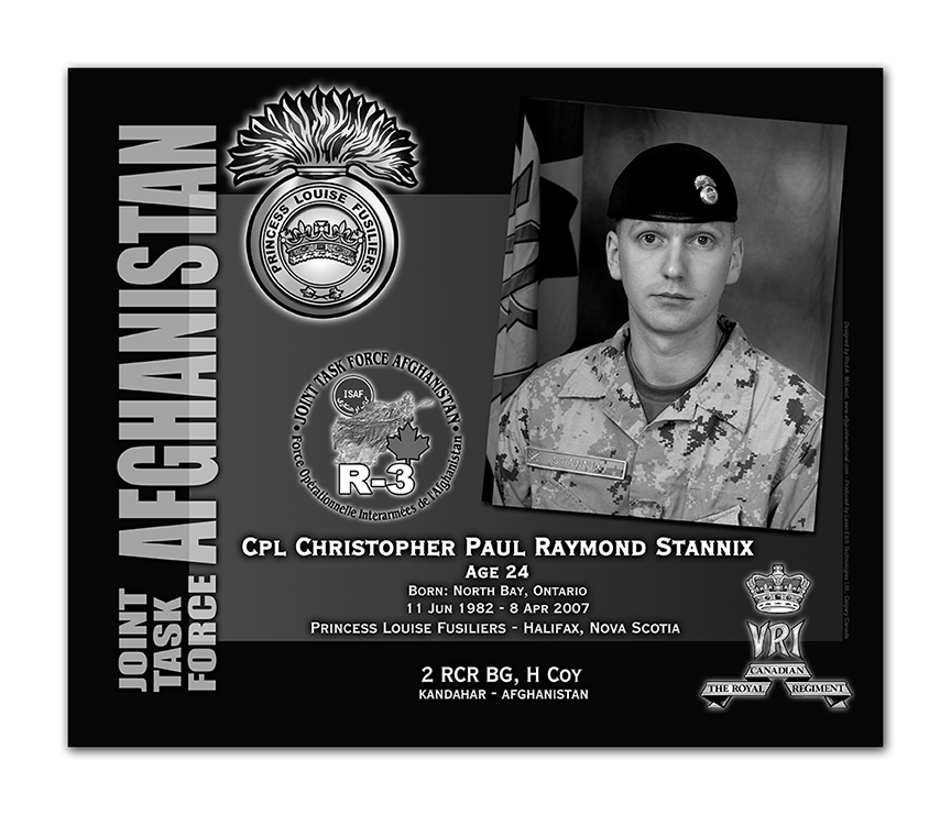 Plaque– This was the laser engraved granite plaque that we designed to mark the unfortunate passing of Cpl Stannix.  