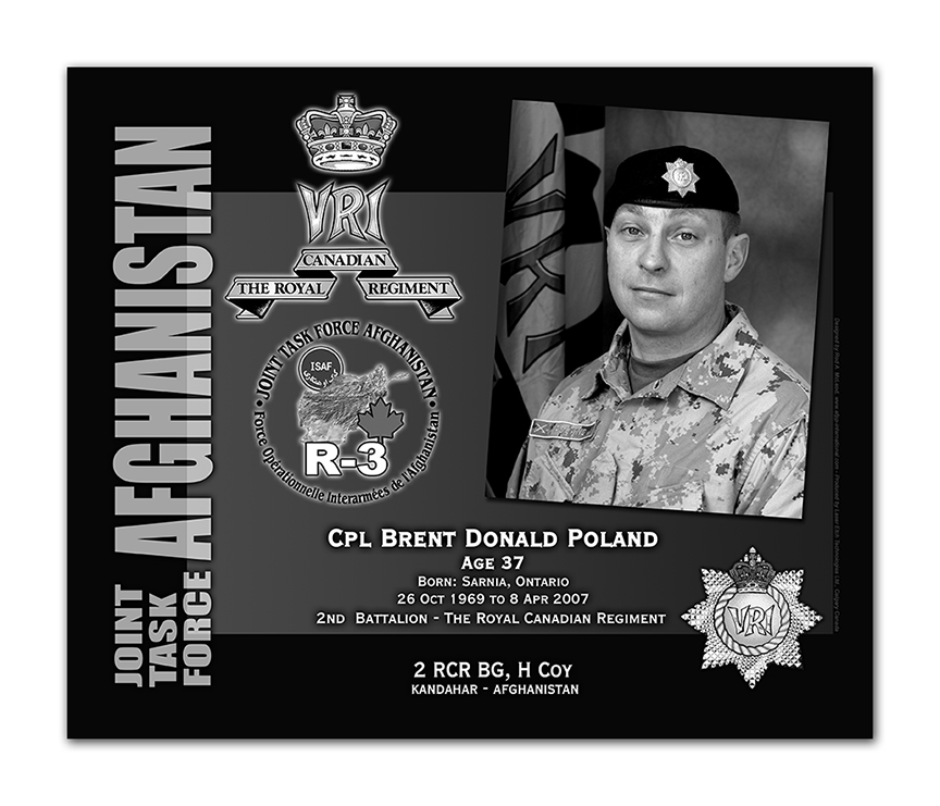 Plaque– This was the laser engraved granite plaque that we designed to mark the unfortunate passing of Cpl Poland. 