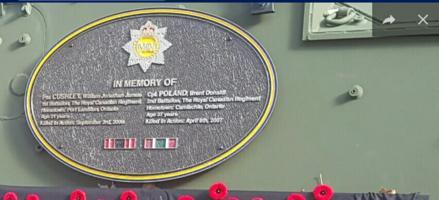 Memorial– Afghanistan monument Plaque is located in Sarnia Lambton, Ontario.