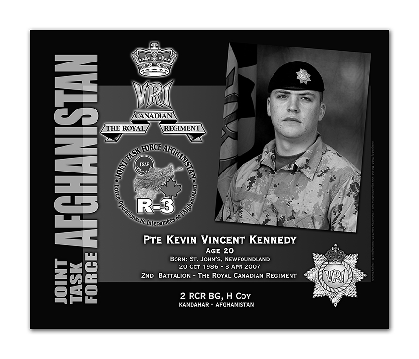 Plaque– This was the laser engraved granite plaque that we designed to mark the unfortunate passing of Pte Kennedy  