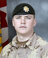 Photo of Kevin V. Kennedy– Private Kevin V. Kennedy, of the Princess Louise Fusiliers was killed when his light armoured vehicle struck an improvised explosive device near the border between Helmand and Kandahar provinces.  Photo: Canadian Forces Image Gallery
