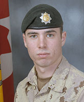 Photo of David Greenslade– Private David R. Greenslade, of the 2nd Battalion, the Royal Canadian Regiment was killed when his light armoured vehicle struck an improvised explosive device near the border between Helmand and Kandahar provinces. Photo: Canadian Forces Image Gallery