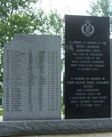 Memorial– Trooper Pentland is commemorated on the RCAC Memorial, Worthington Park, CFB Borden ON.  Photo courtesty of Thomas L. Skelding