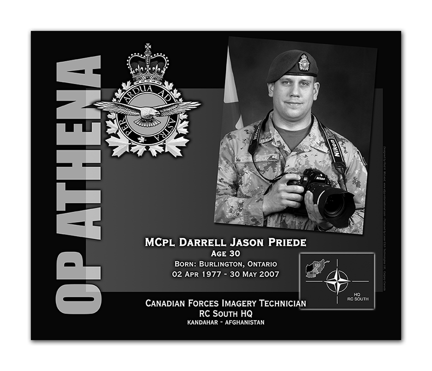 Plaque– This was the laser engraved granite plaque that we designed to mark the unfortunate passing of Cpl Priede.  