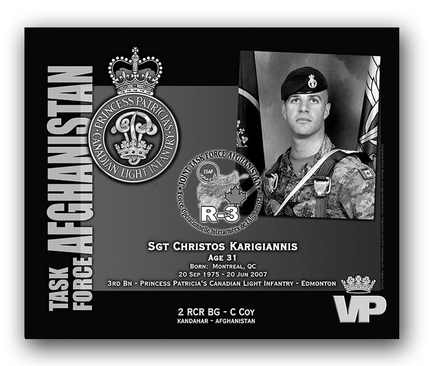 Plaque– This was the laser engraved granite plaque that we designed to mark the unfortunate passing of Sgt. Karigiannis. 