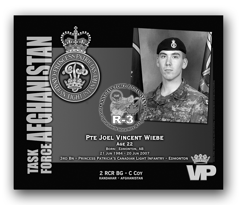 Plaque– This was the laser engraved granite plaque that we designed to mark the unfortunate passing of Pte Wiebe. 