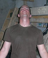 Photo of Joel Vincent Wiebe– Pte. Joel Vincent Wiebe after walking over 17 KM during a patrol in the Panjwaii District Afghanistan, Spring 2007.