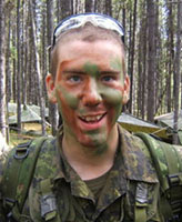 Photo of Joel Vincent Wiebe– Pte. Joel Vincent Wiebe during field training at Wainwright AB, 2005.
