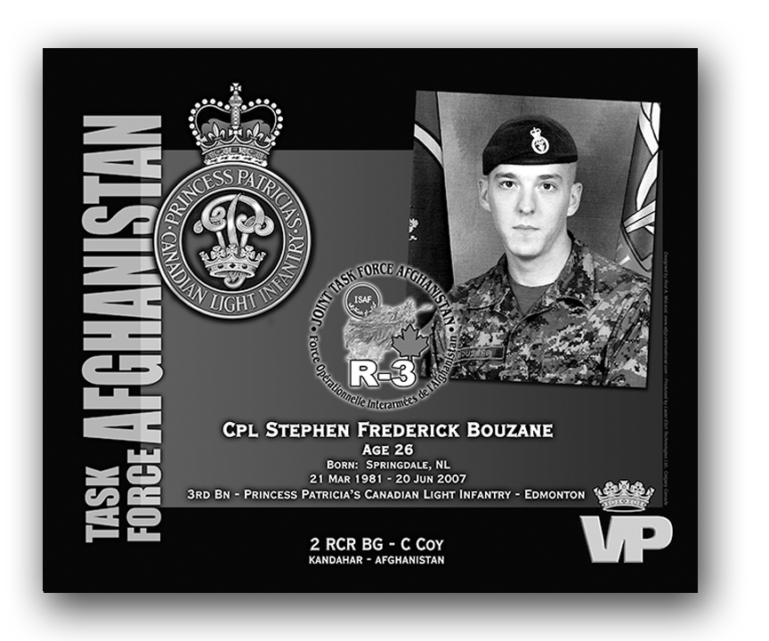 Plaque– This was the laser engraved granite plaque that we designed to mark the unfortunate passing of Cpl Bouzane.  It was originally displayed at the Kandahar Cenotaph from the date of his passing - and was repatriated to Canada in 2014.    Today, it can be seen at the Afghanistan War Memorial located at National Defence Headquarters in Kanata, On.    Rod A. McLeod, Designer