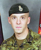 Photo of Stephen Bouzane– Corporal Stephen Frederick Bouzane, of Charlie Company, 3rd Battalion Princess Patricia's Canadian Light Infantry (3 PPCLI) from CFB Edmonton. Corporal Bouzane was one of three Canadian soldiers killed when the vehicle they were traveling in struck an improvised explosive device on the main road, approximately 6 km west of Forward Operating Base Sperwan-Gar. The incident occurred at approximately 7:49 am on June 20, 2007 while the soldiers were conducting resupply operations between checkpoints.  The Charlie Company, 3 PPCLI members are part of the 2nd Battalion Royal Canadian Regiment (2 RCR) Battle Group of the Joint Task Force Afghanistan (JTF-Afg).  Photo By: CFB Edmonton, Garrison Imaging