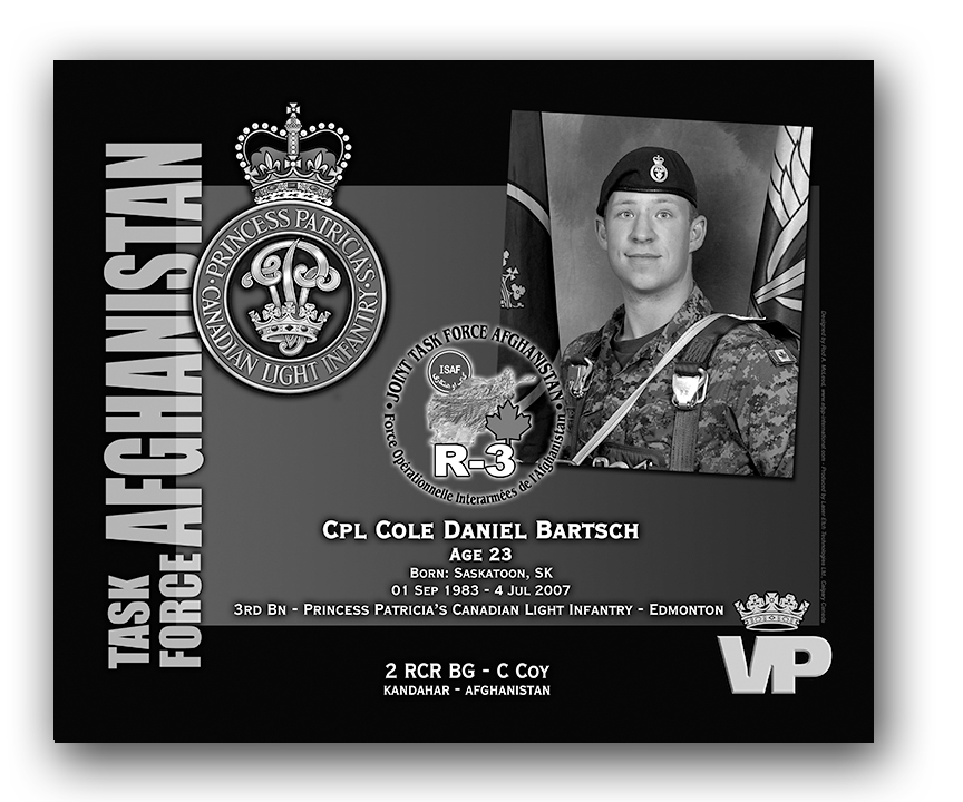 Plaque– This was the laser engraved granite plaque that we designed to mark the unfortunate passing of Cpl Bartsch. 