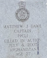 Grave Marker– Captain Matthew Dawe was born into a military family – his dad served 33 years in the army. He had three older brothers – all of whom joined the Canadian Forces prior to Matthew. His Royal Military College of Canada number is 22596. He was both Cadet Wing Senior and captain of the varsity volleyball team in his final year at RMC. 