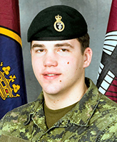 """Photo of Lane Watkins– Private Lane Watkins was killed on 4 July, 2007 along with 5 other CF members and one Afghan interpreter, when the vehicle they were traveling in struck an improvised explosive device, approximately 20km south-west of Kandahar City. Pte Watkins was a member of 3rd Battalion Princess Patricia""""s Canadian Light Infantry, 3 PPCLI, based out of Edmonton.  Photo: Canadian Forces Image Gallery"""