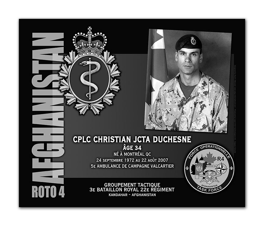 Plaque– This was the laser engraved granite plaque that we designed to mark the unfortunate passing of Cpl Duchesne.  