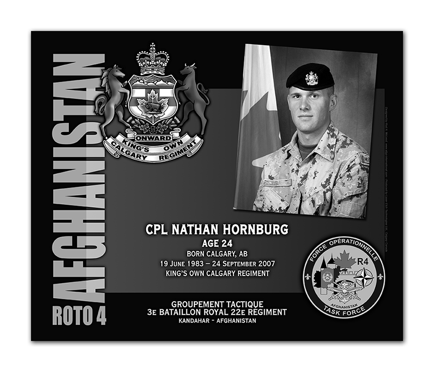 Plaque– This was the laser engraved granite plaque that we designed to mark the unfortunate passing of Cpl Hornburg.  