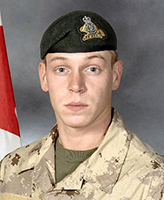 Photo of Michel Lévesque– Private Michel Jr. Lévesque was killed on 17 November, 2007 when the vehicle he was traveling in, a LAV III, struck an Improvised Explosive Device. The incident occurred around 12 a.m. Kandahar time, approximately 40 km West of Kandahar city in the vicinity of MaÕsum Ghar. Pte. Levesque, was 25 years of age and a member of 3 R22eR, based in Valcartier, Quebec.  Photo: Canadian Forces Image Gallery