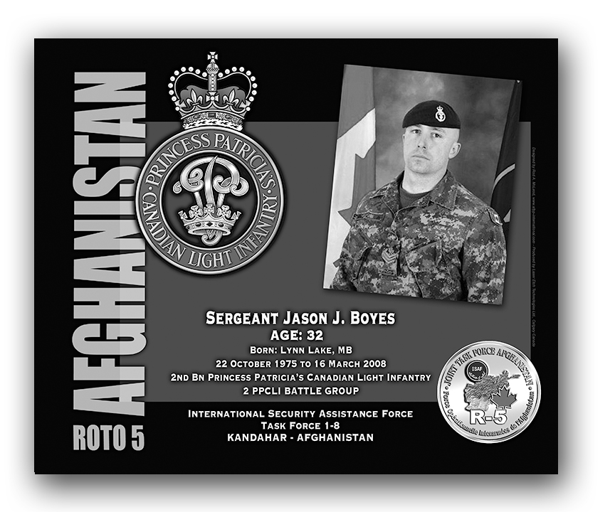 Plaque– This was the laser engraved granite plaque that we designed to mark the unfortunate passing of Sgt Jason Boyes.    It was originally displayed at the Kandahar Cenotaph from the date of his passing - and was repatriated to Canada in 2014.    Today, it can be seen at the Afghanistan War Memorial located at National Defence Headquarters in Kanata, On.    Rod A. McLeod, Designer