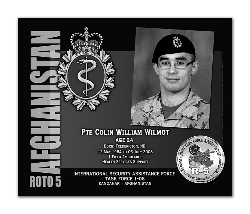 Plaque– This was the laser engraved granite plaque that we designed to mark the unfortunate passing of Pte Wilmott.  