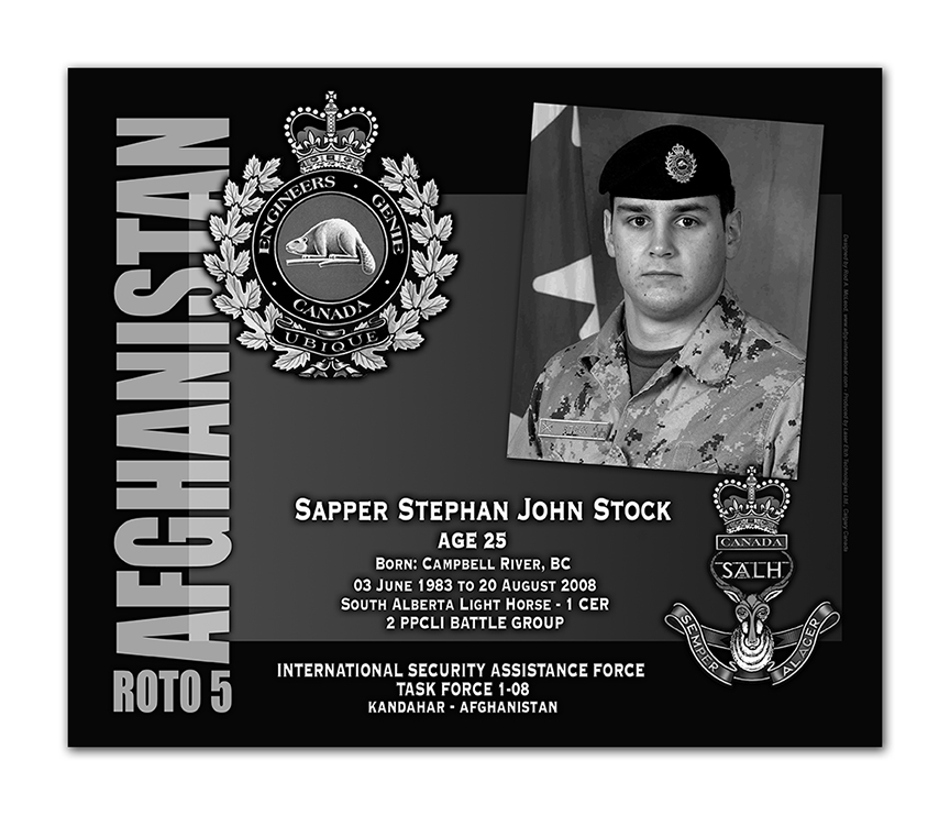 Plaque– This was the laser engraved granite plaque that we designed to mark the unfortunate passing of Sapper Stock.  