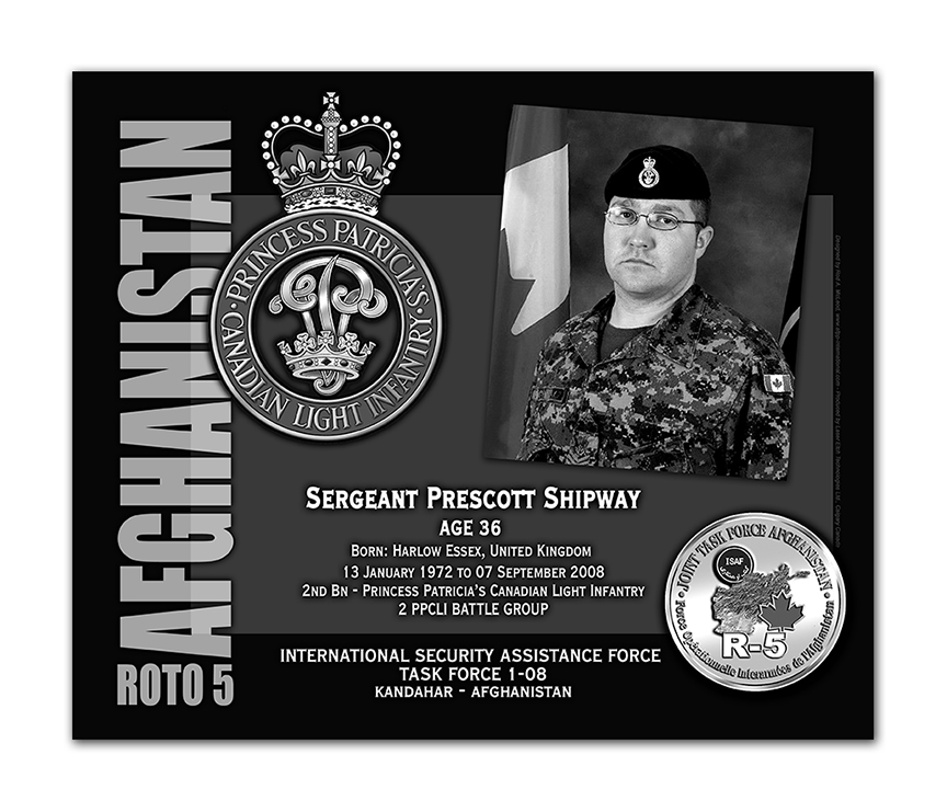 Plaque– This was the laser engraved granite plaque that we designed to mark the unfortunate passing of Sergeant Shipway.    It was originally displayed at the Kandahar Cenotaph from the date of his passing - and was repatriated to Canada in 2014.    Today, it can be seen at the Afghanistan War Memorial located at National Defence Headquarters in Kanata, On.    Rod A. McLeod, Designer