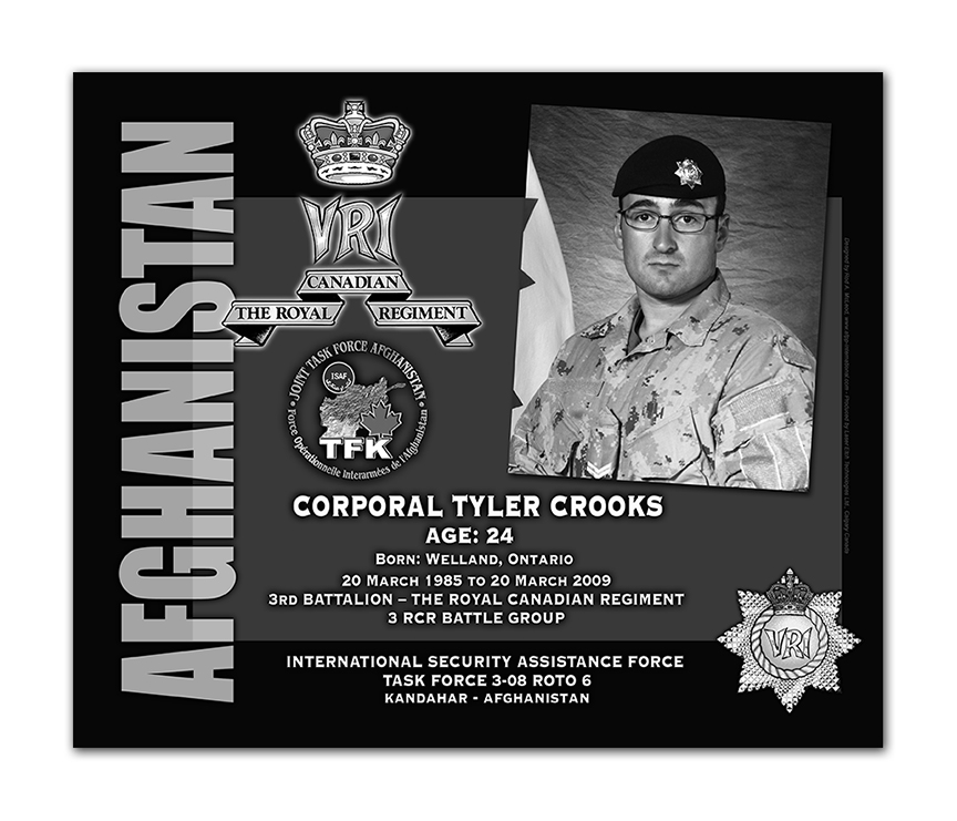 Plaque– This was the laser engraved granite plaque that we designed to mark the unfortunate passing of Cpl Crooks.  