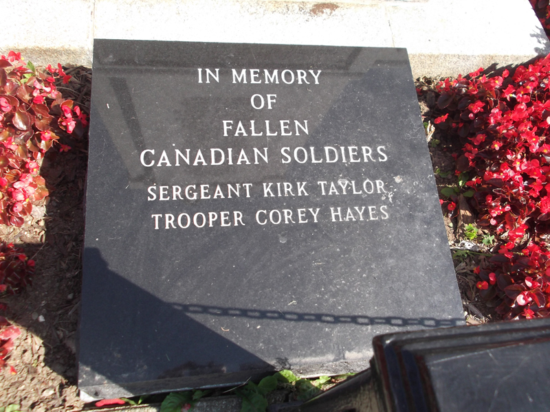 War Memorial– Tpr Corey Hayes is commemorated on the War Memorial Yarmouth, NS