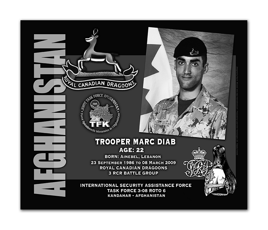 Plaque– This was the laser engraved granite plaque that we designed to mark the unfortunate passing of Trooper Diab.  