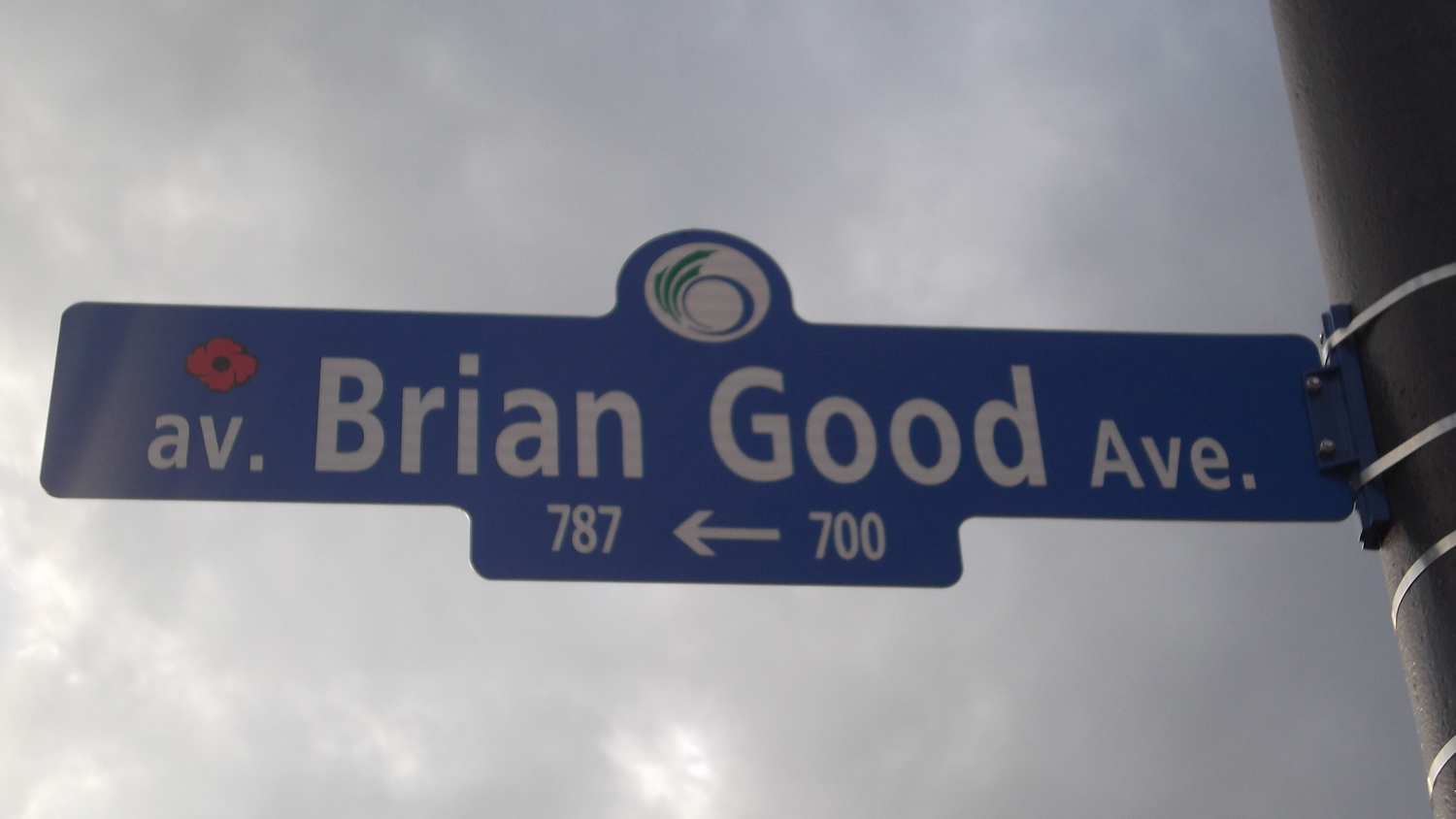 """Street– Tpr Brian Good is commemorated on street sign in Ottawa, ON.  Copyright © 2017 by T.L. Skelding. All rights reserved. The photograph(s) may be used solely for personal, informational, and internal purposes. The photograph(s) may not be modified or altered in any way OR posted on any other web-site for any purpose whatsoever. I request to be notified where the image is being used and that the tag """"Courtesy The Mounted Dragoon. Copyrighted Image. Used with Permission."""" is added to every image."""