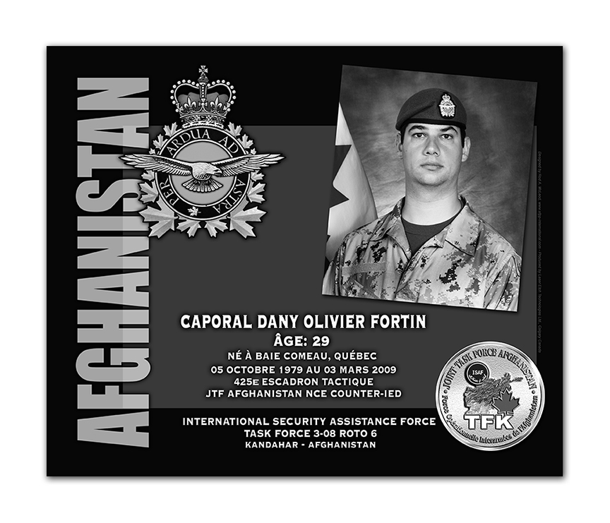 Plaque– This was the laser engraved granite plaque that we designed to mark the unfortunate passing of Cpl Fortin.  