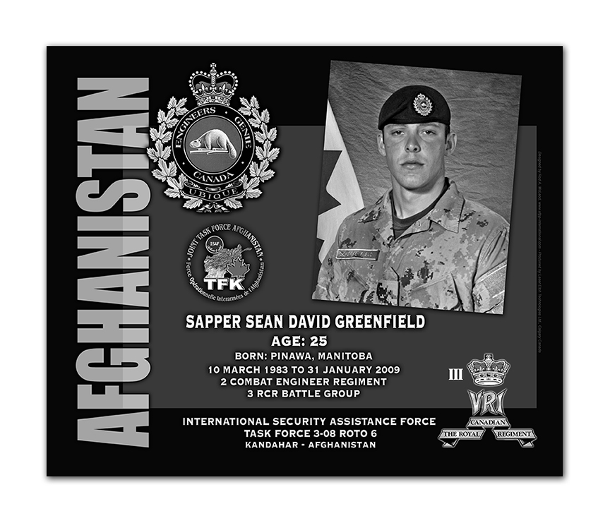 Plaque– This was the laser engraved granite plaque that we designed to mark the unfortunate passing of Sapper Greenfield.  
