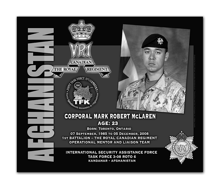 Plaque– This was the laser engraved granite plaque that we designed to mark the unfortunate passing of Cpl McLaren.  