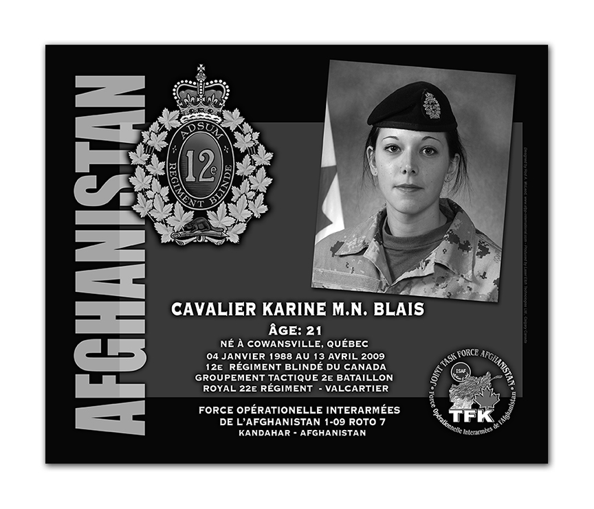 Plaque– This was the laser engraved granite plaque that we designed to mark the unfortunate passing of Cpl Blais.  