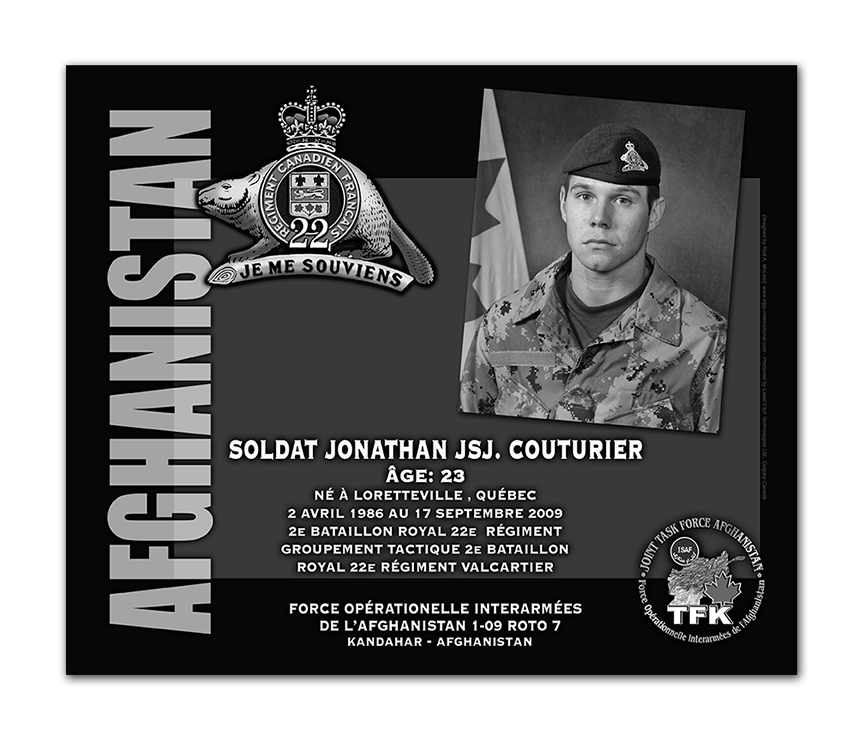 Plaque– This was the laser engraved granite plaque that we designed to mark the unfortunate passing of Corporal Couturier.  