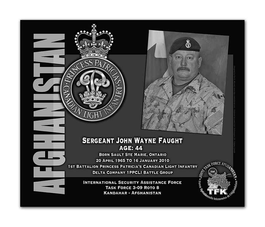Plaque– This was the laser engraved granite plaque that we designed to mark the unfortunate passing of Sgt Faught.  