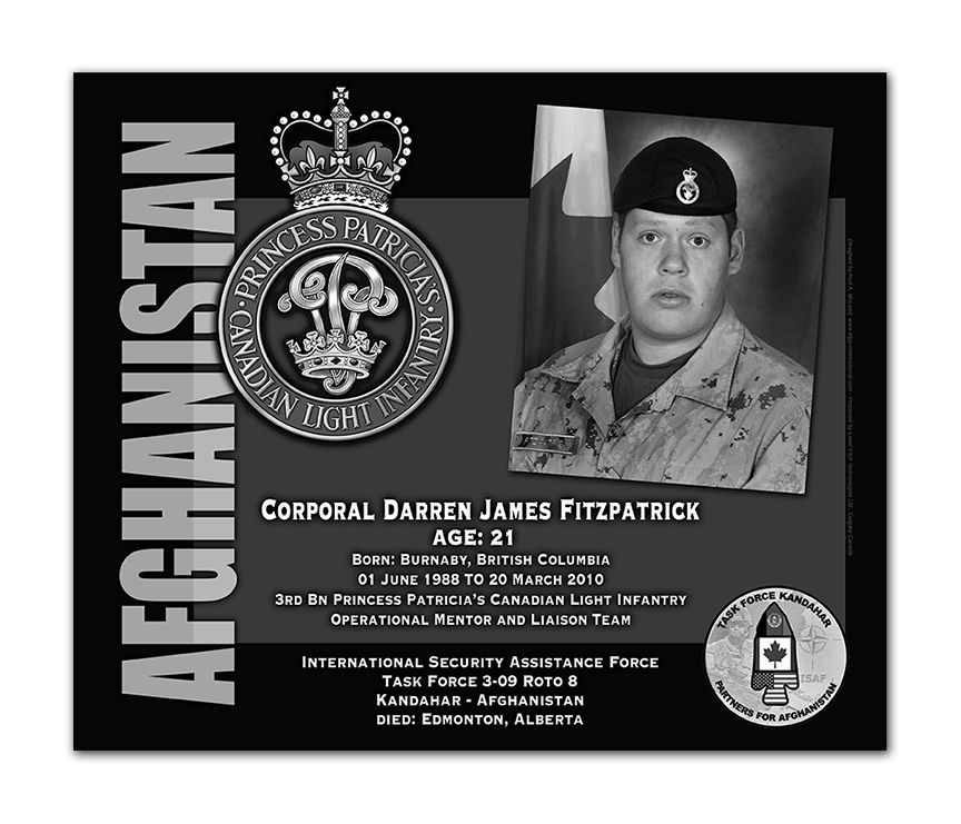 Plaque– This was the laser engraved granite plaque that we designed to mark the unfortunate passing of Cpl Fitzpatrick.  