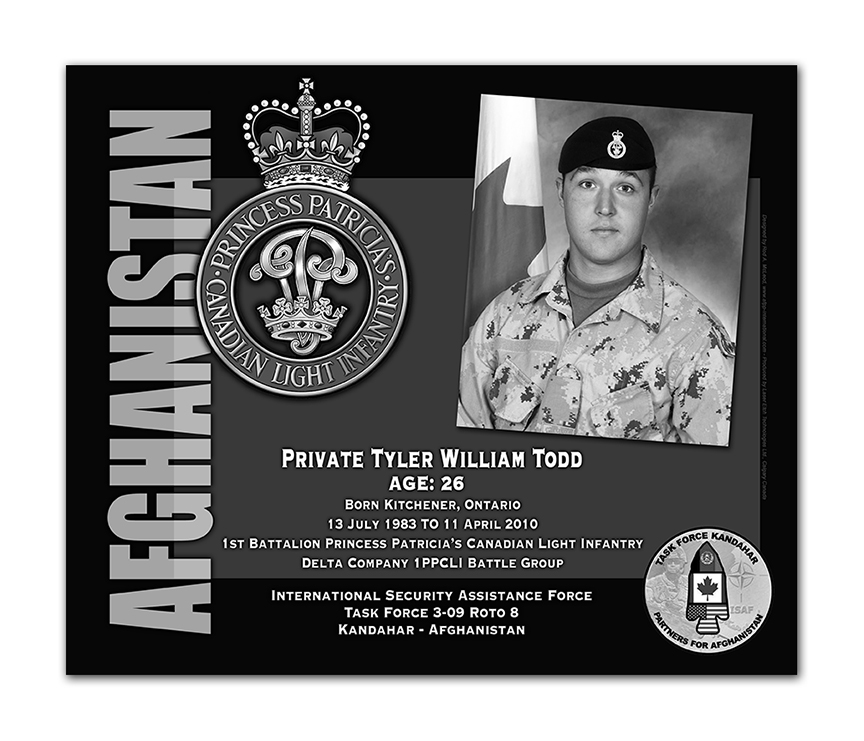 Plaque– This was the laser engraved granite plaque that we designed to mark the unfortunate passing of Private Todd.    It was originally displayed at the Kandahar Cenotaph from the date of his passing - and was repatriated to Canada in 2014.    Today, it can be seen at the Afghanistan War Memorial located at National Defence Headquarters in Kanata, On.    Rod A. McLeod, Designer