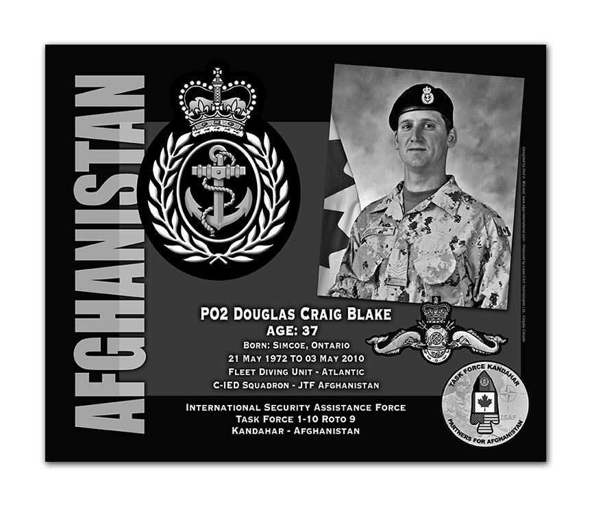 Plaque– This was the laser engraved granite plaque that we designed to mark the unfortunate passing of PO2 Blake.  