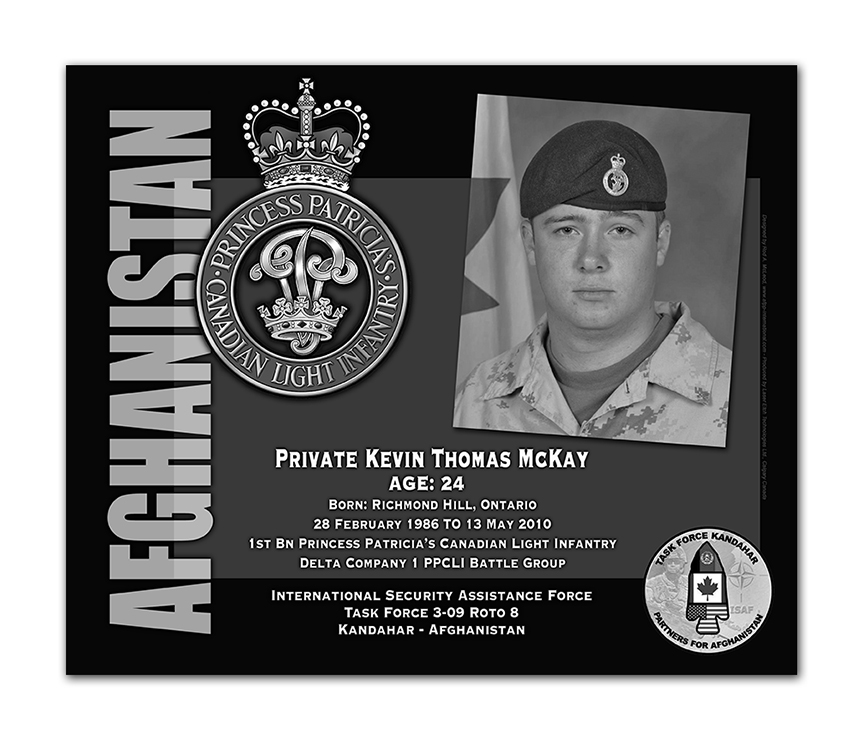 Plaque– This was the laser engraved granite plaque that we designed to mark the unfortunate passing of Private McKay.  