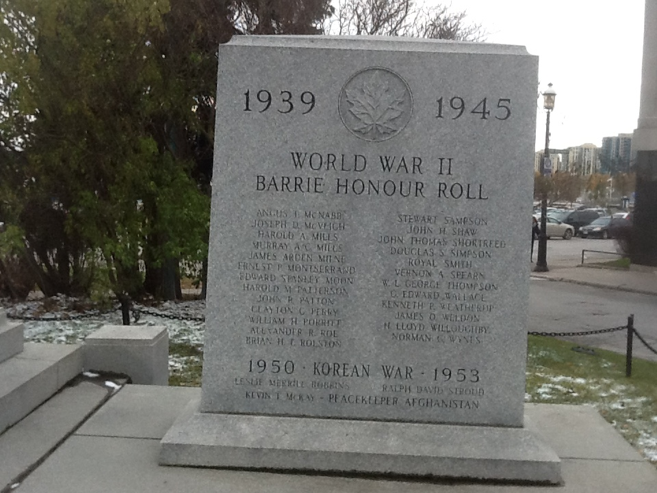 War Memorial– Barrie, Ontario