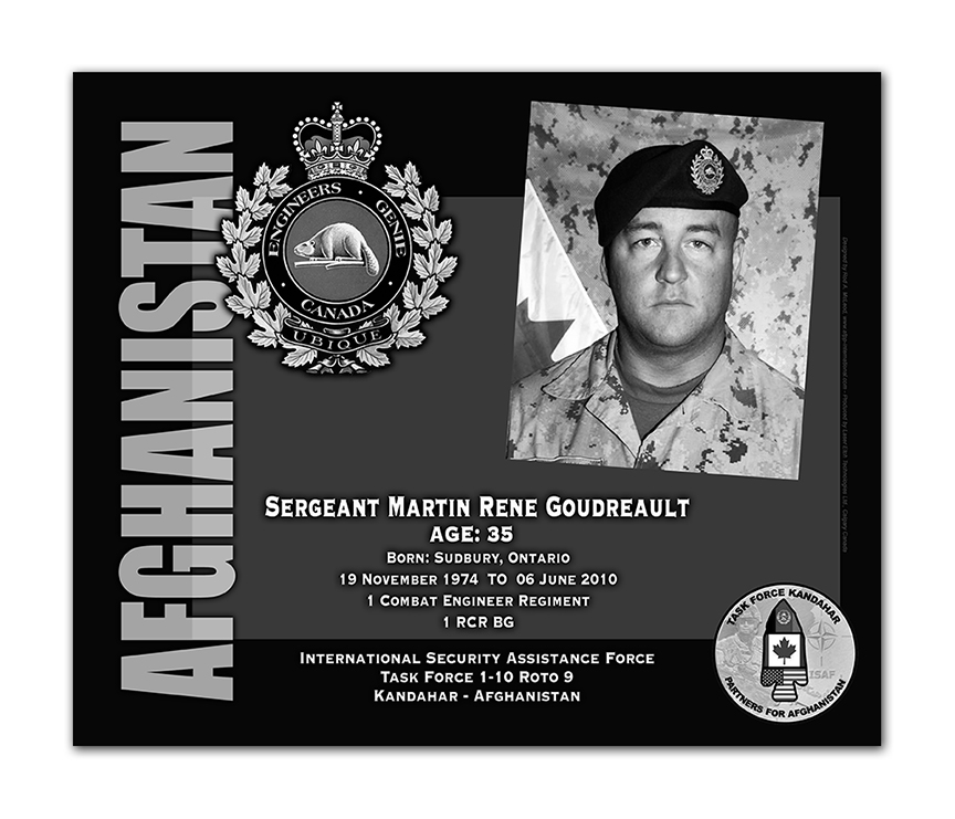 Plaque– This was the laser engraved granite plaque that we designed to mark the unfortunate passing of Sgt Goudreault.  