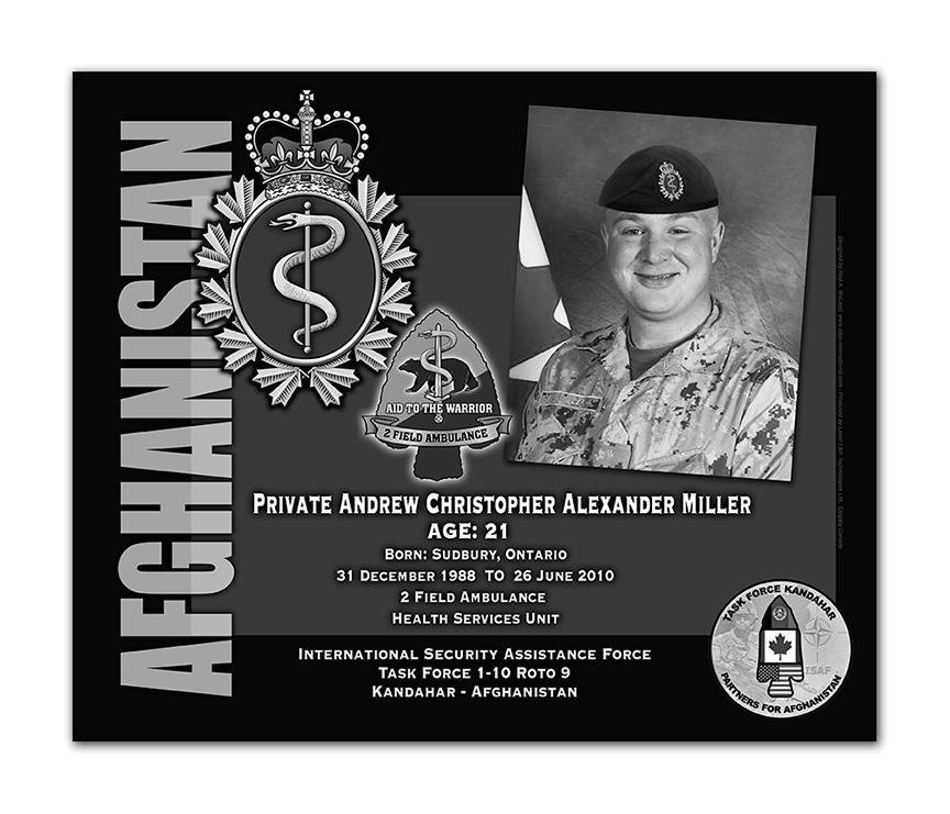 Plaque– This was the laser engraved granite plaque that we designed to mark the unfortunate passing of Private Miller.  
